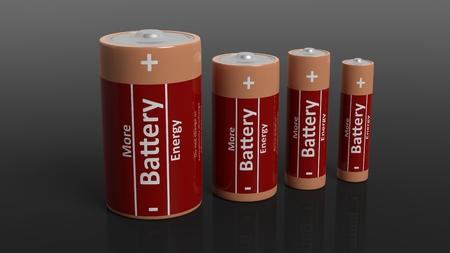 eficiencia: Representación 3D de pilas en todos los tamaños, aislado sobre fondo negro. Foto de archivo