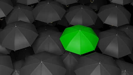 contrast: 3D rendering of classic large black umbrellas tops with one green standing out.