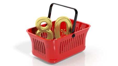 trade off: 3D rendering of red shopping basket with golden 80% discount symbol, isolated on white.