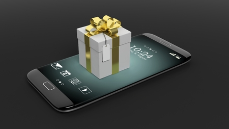 3D rendering of smartphone with giftbox, isolated on black background.