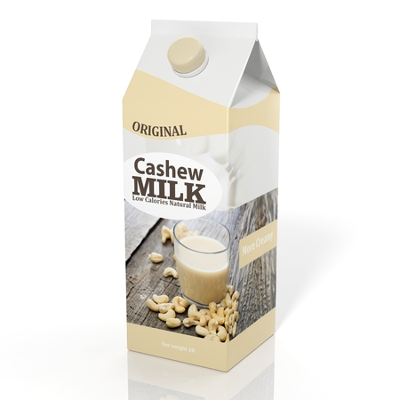 litre: 3D rendering illustration of pack of cashew milk on white background.Isolated. Stock Photo
