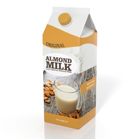 litre: 3D rendering illustration of pack of Almond milk on white background.Isolated. Stock Photo