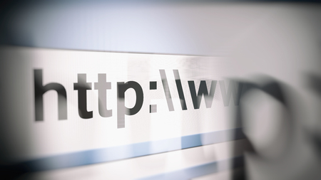 http: Close-up of 3d rendering illustration of http browser line with website