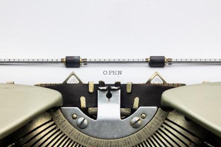 printing machine: Open word printed by printing machine Stock Photo