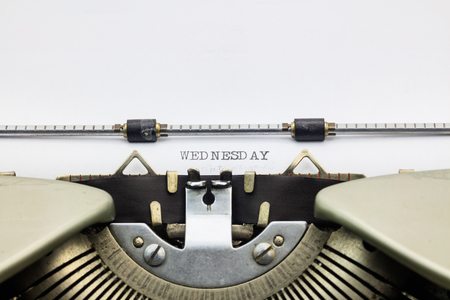 machinery space: Close-up of  word Wednesday on typewriter sheet