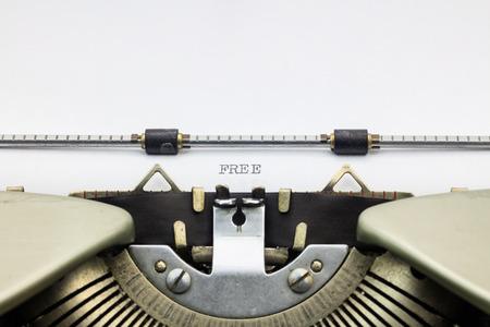 free background: Close-up of word Free on typewriter sheet