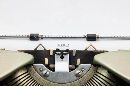 printed: Close-up of word Like  on typewriter sheet Stock Photo