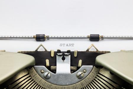 printed: Close-up of word Start on typewriter sheet Stock Photo