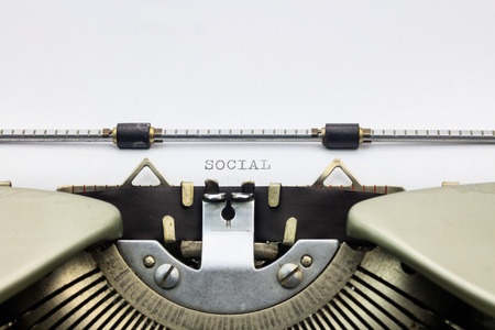 machinery space: Close-up of of word Social  on typewriter sheet Stock Photo