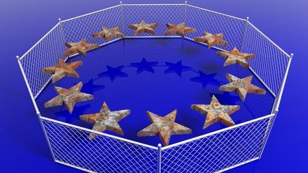 humanismo: Plata cerca alrededor de estrellas oxidados de la bandera de la Unión Europea, 3D.