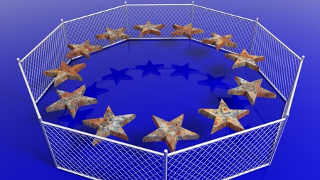 humanismo: Silver fence around European Union flags rusty stars, 3D rendering. Foto de archivo