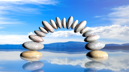 3D rendering of balancing stones forming an arch in water with blue sky and peaceful landscape.