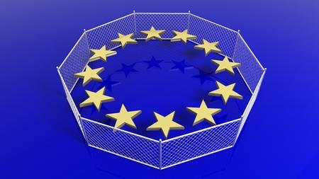 humanismo: Plata cerca alrededor de las estrellas de la bandera de la Uni�n Europea, 3D.