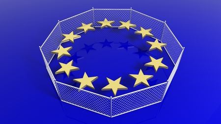humanismo: Silver fence around European Union flags stars, 3D rendering.
