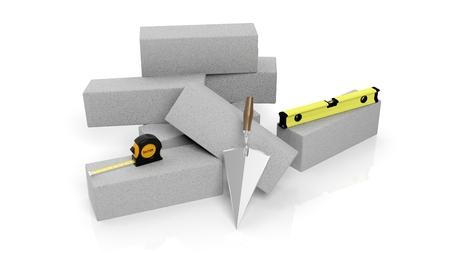 cemento: Representación 3D de herramientas de mampostería y ladrillos, aislados en fondo blanco.