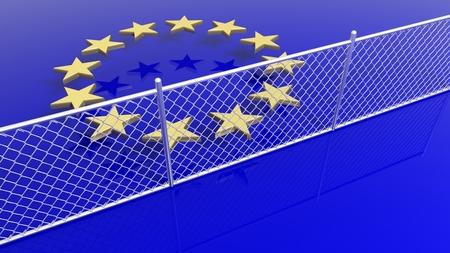 humanismo: estrellas de la bandera de la Unión Europea, detrás de la valla de plata de renderizado 3D.