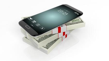 dollaro: 3D rendering di smartphone su 100 dollari banconote bundle pila, su bianco
