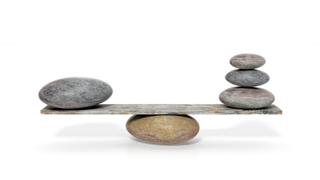 3D rendering of balancing stones on wooden plank, isolated on white background
