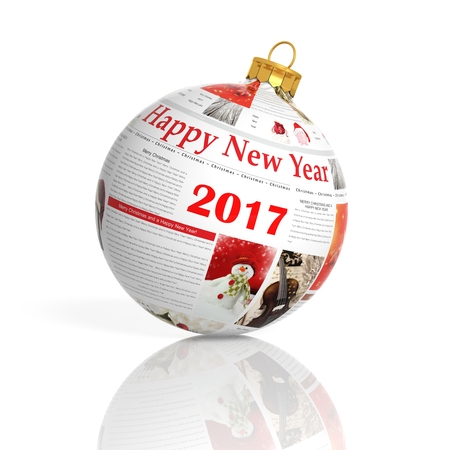 page background: 3D rendering of newspaper  2017 ball, on white background Stock Photo