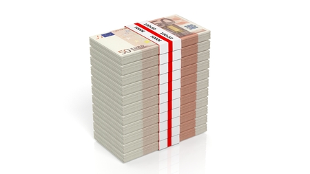 bundles: 3D rendering of 50 Euros banknote bundles stack, isolated on white background. Stock Photo