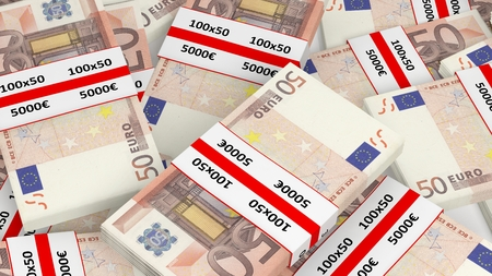 bundles: 3D rendering of 50 Euros banknote bundles pile, closeup background