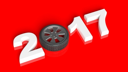 new car: 3D rendering of white 2017 with cars wheel as zero, on red background