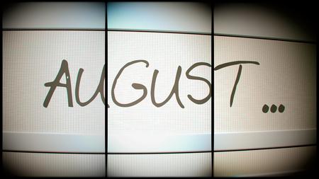 electronic organiser: 3d rednering of August month on digital monitor