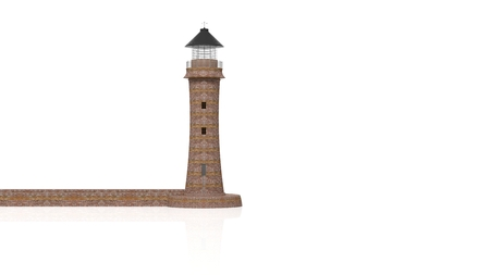 rendering: 3D rendering lighthouse on white background.Isolated.