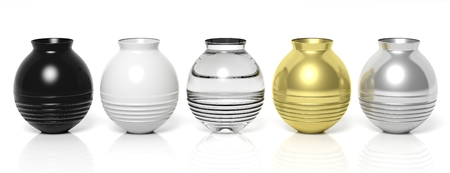 vases: 3D rendering vases of different colors.Isolated Stock Photo