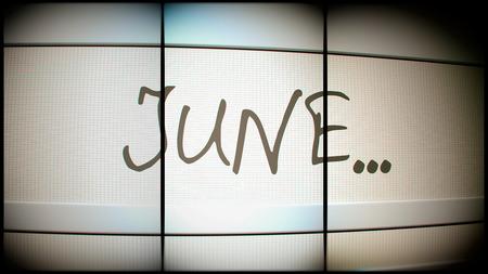 month 3d: 3d rednering of June month on digital monitor