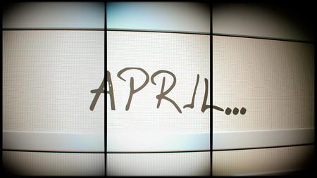 electronic organiser: 3d rednering of April month on digital monitor