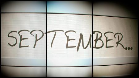 month 3d: 3d rednering of September month on digital monitor