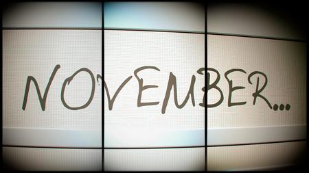 month 3d: 3d rednering of November month on digital monitor