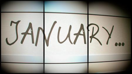 electronic organiser: 3d rednering of January month on digital monitor Stock Photo