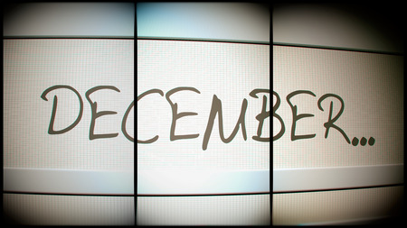 pc monitor: 3d rednering of December month on digital monitor Stock Photo