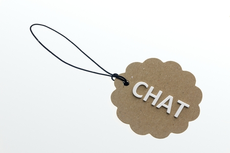 objects paper: Close-up of 3d rendering CHAT word on paper cardboard.Isolated