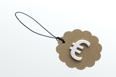 paperboard: Close-up of 3d rendering sign of euro on paperboard label