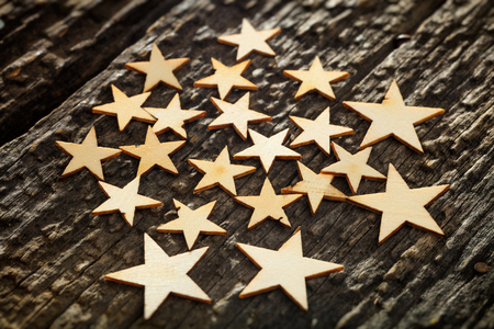 bark carving: Close-up of wooden stars on tree bark