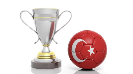 sports winner: 3d rendering of a  Golden Silver trophy and soccer ball isolated on white
