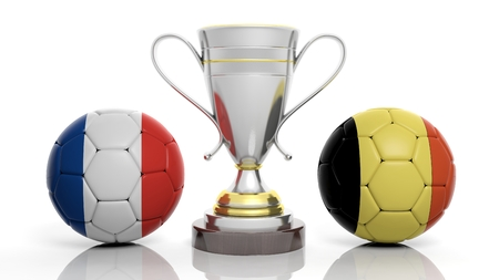 sports winner: 3d rendering of a  Golden Silver trophy and soccer ball isolated on white with Belgium and France flag Stock Photo