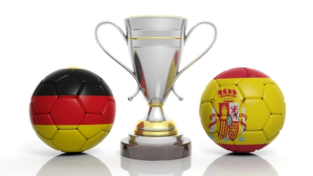sports winner: 3d rendering of a  Golden Silver trophy and soccer ball isolated on white with Germany and Spain flag