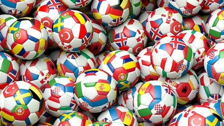 soccer balls: 3d rendering Pile of classic soccer balls with flags