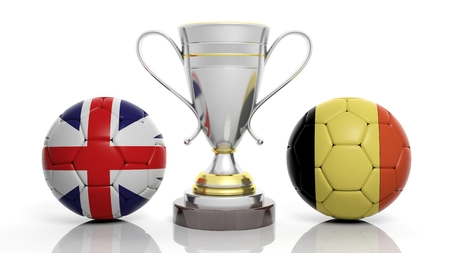 sports winner: 3d rendering of a  Golden Silver trophy and soccer ball isolated on white with Uk and portugal flag
