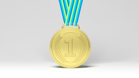to place: 3D rendering first place medal on ribbon.Isolated Stock Photo