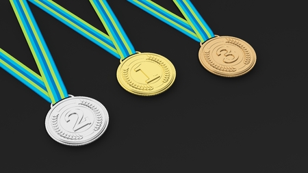 gold silver: Isolated medals for three places on black background