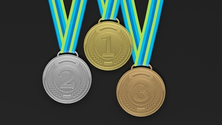 sports winner: Close-up of 3D medals of silver,bronze and gold on black background.Isolated