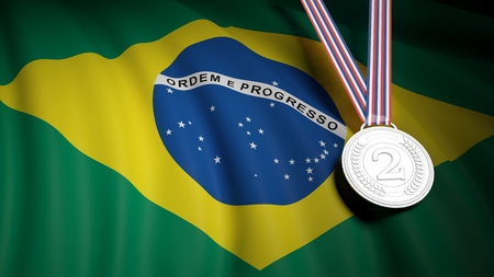 second place: 3D rendering of silver second place medal on Brazil flag