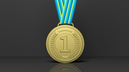conquering: Close-up of golden first place medal on black background Stock Photo