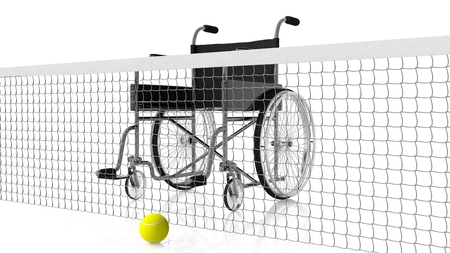 to the other side: wheelchair behind tennis net with yellow ball on other side