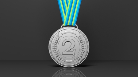 second: 3D rendering of second  place medal on black background